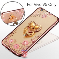 Heart Ring Stand Case with Auora Flower Crystals for Vivo V5 Back Cover Rose Gold